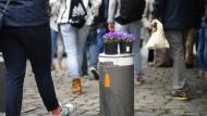 Natur auf Beton: In Frankfurt werden derzeit verschiedene Sicherheitssysteme geprüft. Nach aktuellem Stand wird es auf installierte Barrikaden hinauslaufen - wie hier in Münster nach der Amokfahrt.