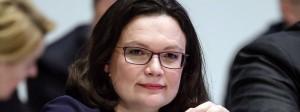 Die designierte Gewinnerin der Wahl für den Parteivorsitz: Andrea Nahles am Sonntag auf dem SPD-Parteitag in Wiesbaden