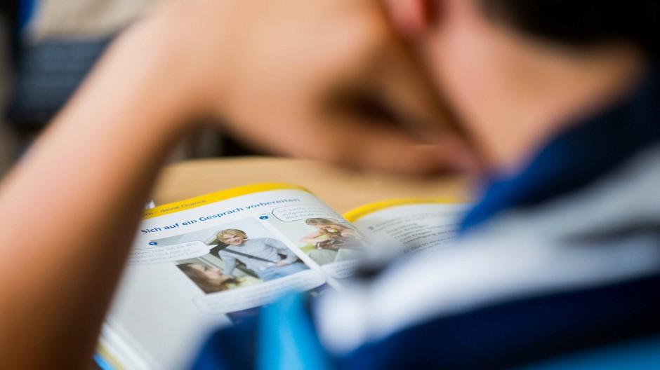 Ein Schüler einer achten Klasse liest ein Buch.