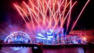 """Show ohne Publikum: Bei der ZDF-Silvestershow """"Willkommen 2021"""" am Brandenburger Tor gab es auch ein Feuerwerk."""