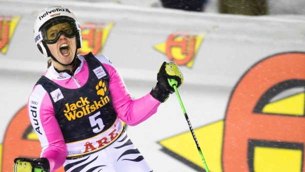 Germany's Viktoria Rebensburg celebrates winning after finishing the second run of the FIS Alpine Ski World Cup women's giant slalom in Are