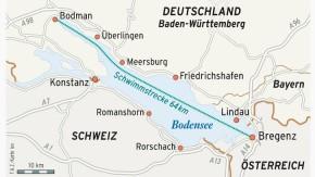 Karte / Deutschland Schwimmstrecke / Bodensee