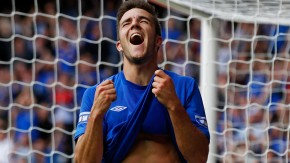 Rangers' Little celebrates scoring his third goal against East Stirlingshire during their Scottish Football League division three soccer match in Glasgow