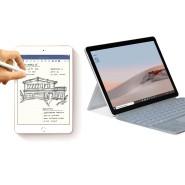 Tablet und Einsatzzweck können sehr unterschiedlich sein: Links das iPad Mini, rechts das Microsoft Surface Go 2.