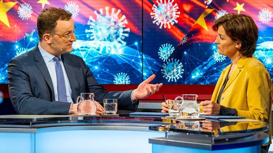 Bundesgesundheitsminister Jens Spahn bei Sandra Maischberger