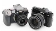 Zwei, die nur so aussehen, als seien sie DSLR: Lumix G70 (links) und Fujifilm X-T10.