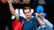 Roger Federer nach seinem Sieg in Melbourne.