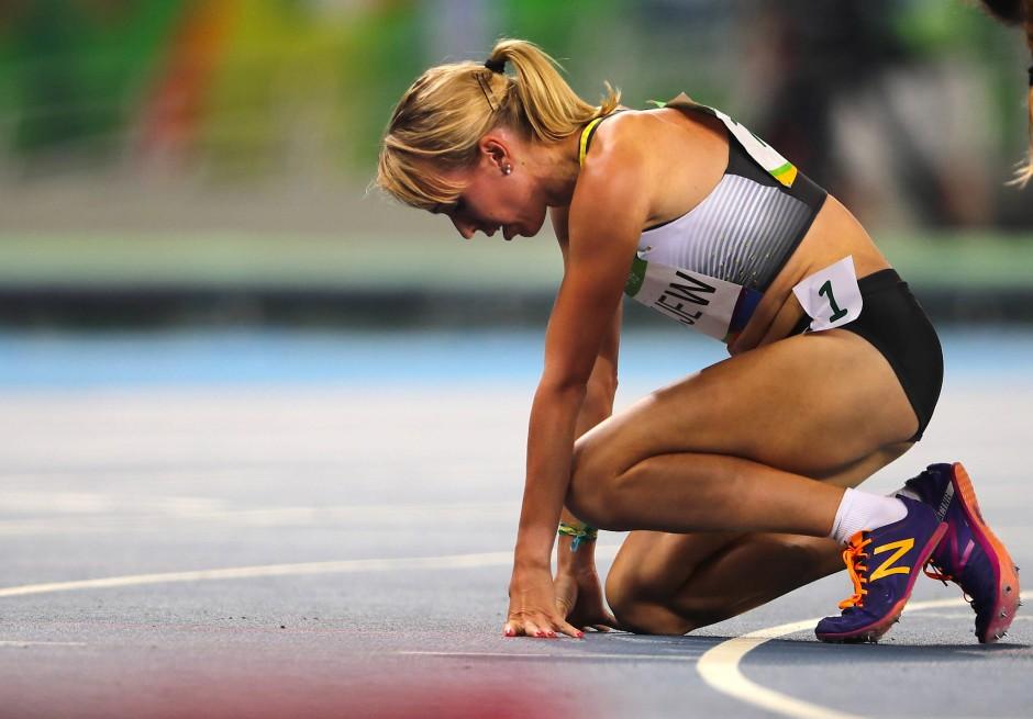 Mittelstreckenläuferin Diana Sujew kurz vor dem Start des 1500-Meter-Halbfinales von Rio