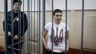 Nadjeschda Sawtschenko am 10. Februar bei einem Gerichtstermin in Moskau