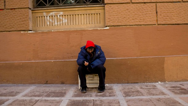 Homeless in Athens, Greece, February 2012