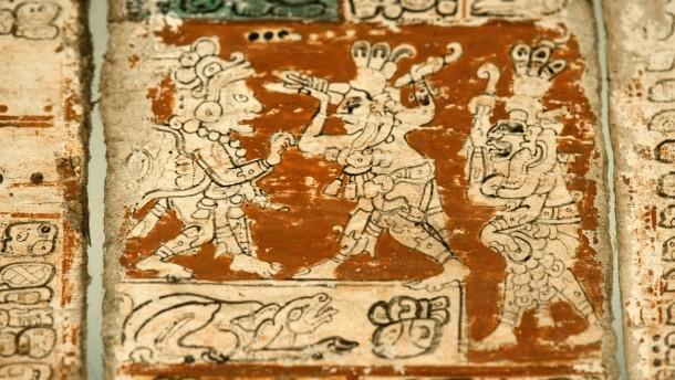 Maya-Kodex -  Der Maya-Kalender im Dresdener Buchmuseum der Sächsischen Landes- und Universitätsbibliothek zieht besonders viele Besucher an. Diese historische Handschrift kündigt den Weltuntergang für den 21.12. d.J. an.