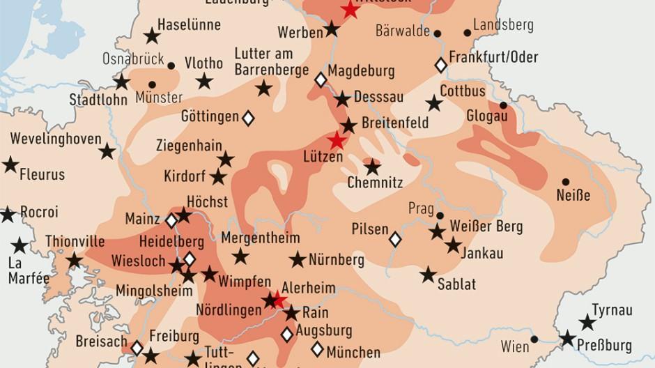 Infografik/ Karte/ Deutschland / Bevölkerungsverluste während des Dreißigjährigen Krieges
