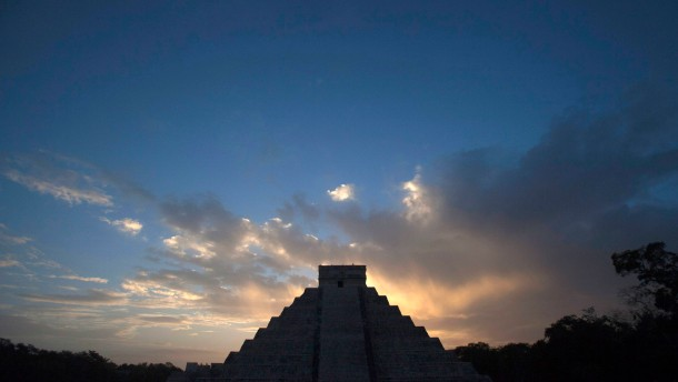 The pyramid of Kukulcan is seen during sunrise at the archaeological zone of Chichen Itza in Yucatan State