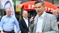 Martin Dulig, Vorsitzender der Sachsen-SPD, bei einer Wahlkampfveranstaltung in Chemnitz