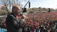 Der türkische Präsident Erdogan bei einem Auftritt anlässlich der Anschläge von Christchurch.