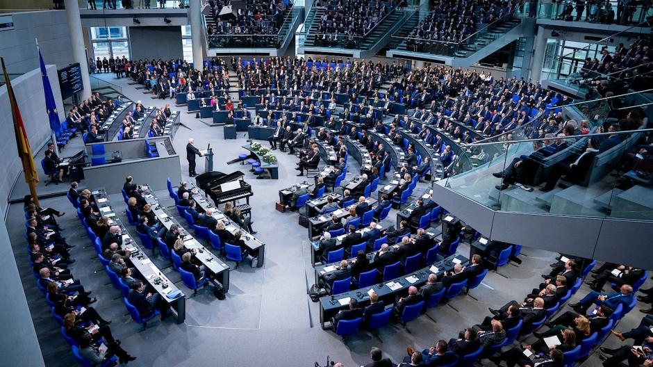 Blick in das Plenum des Bundestags, hier bei der Gedenkstunde für die Opfer des Nationalsozialismus am 29. Januar
