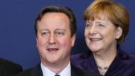 Portugals Regierungschef Costa, der britische Premierminister Cameron und Bundeskanzlerin Merkel in Brüssel.