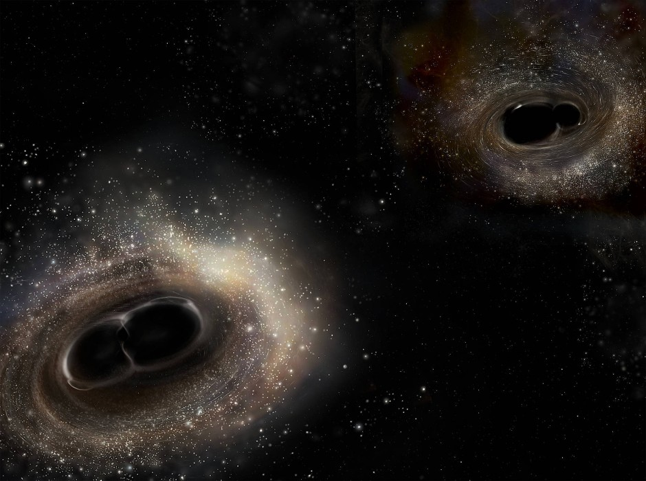Künstlerische Darstellung von Binärsystemen aus Schwarzen Löchern, deren bevorstehende Verschmelzung Gravitationswellen erzeugt.