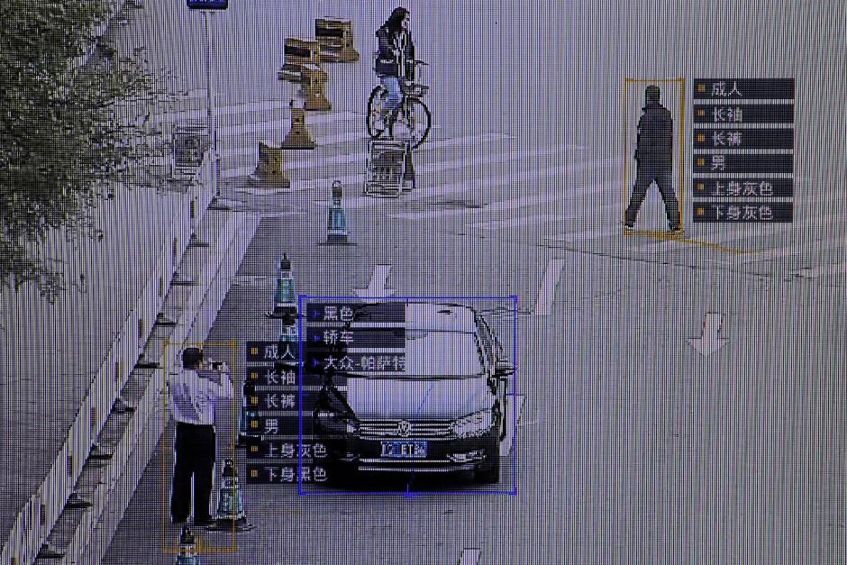 SenseTime identifiziert Menschen auf einer Demonstration in Peking im Oktober 2017.