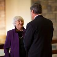 Notenbankpräsidenten unter sich: Die Amerikanerin Janet Yellen und der Italiener Mario Draghi (Foto aus Jackson Hole aus dem vergangenen Jahr)
