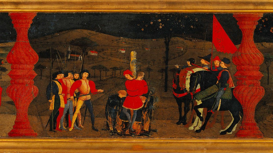 Eine jüdische Kaufmannsfamilie wird verbrannt, weil sie Hostienfrevel begangen haben soll: Detail einer 1465 für eine Kirche in Urbino geschaffenen Altarpredella von Paolo Uccello.