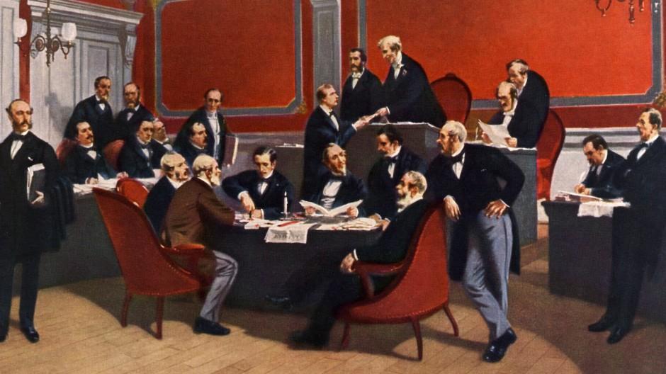 Das Gemälde von Charles Édouard Armand-Dumaresq zeigt die Unterzeichnung der ersten Genfer Konvention am 22.08.1864 im Stadthaus von Genf (Schweiz).