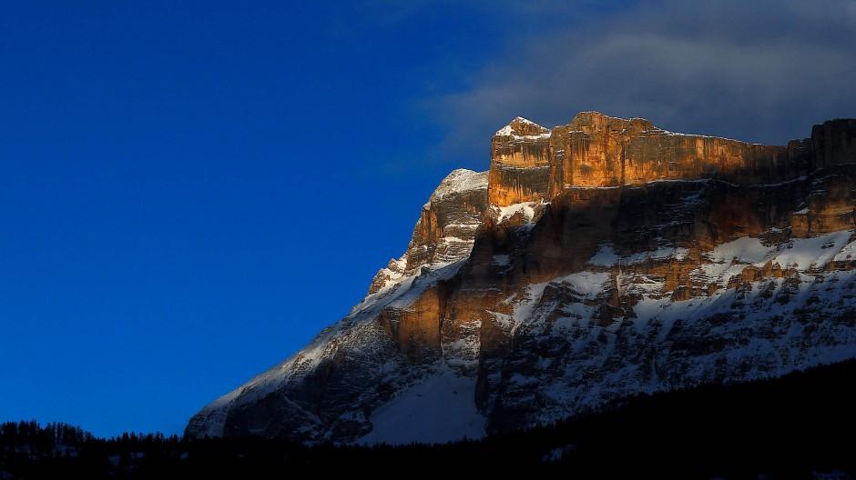 Sonnenuntergang im Skigebiet Alta Badia