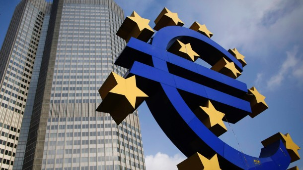 The Euro currency sign is seen in front of the European Central Bank headquarters in Frankfurt