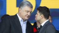 Rededuell im Olympastadion: Poroschenko und Selenskyi