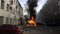 Eine Szene in Donezk nach dem Beschuss durch das ukrainische Militär