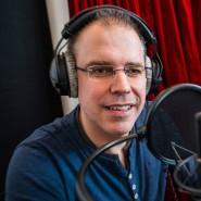 Heiko Grauel sprach über 14.000 gelesene Zeilen in das Aufnahme-Mikrofon.