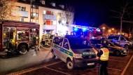 Bamberg: Einsatzkräfte bei dem nächtlichen Einsatz am Ankerzentrum
