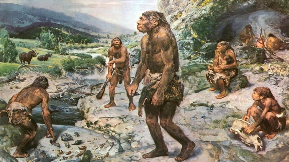 """Familiär: Neandertaler-Darstellung aus dem Buch """"Menschen der Urzeit"""" von 1977"""