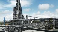 Direktreduktionsanlage in Texas: Hier wird mit Gas Eisenschwamm hergestellt, der zu Stahl weiterverarbeitet werden kann.