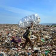 Ein Indonesier sammelt auf einer Müllkippe in Bali Abfall.