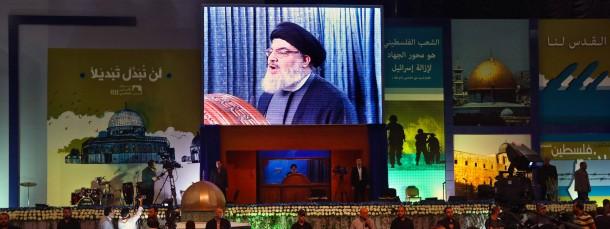 Hizbullah-Generalsekretär Hassan Nasrallah vor Anhängern in Beirut