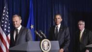 """Angespannt nach dem """"Ja"""" zum Brexit: EU-Ratspräsident Tusk, Präsident Obama und EU-Kommissionspräsident Juncker in Warschau."""