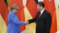 Bundeskanzlerin Merkel am Donnerstag zu Besuch in Peking – hier mit dem chinesischen Staatschef Xi Jinping