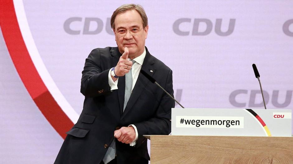 Der neue CDU-Vorsitzende Armin Laschet während seiner Rede auf dem digitalen Parteitag in Berlin