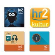 Lauter schöne Logos: hr2 in der Eigenankündigung.