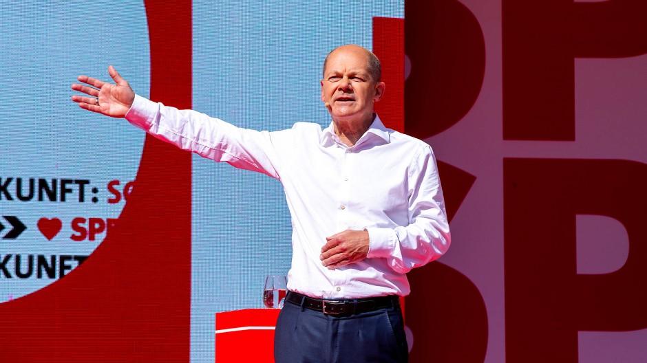 Olaf Scholz spricht vergangenen Samstag in München.