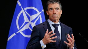 NATO Secretary General Rasmussen addresses a news conference at the Alliance headquarters in Brussels