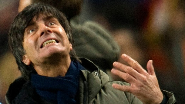 Coach  Loew of Germany reacts during their friendly soccer match against Netherlands  in Amsterdam.
