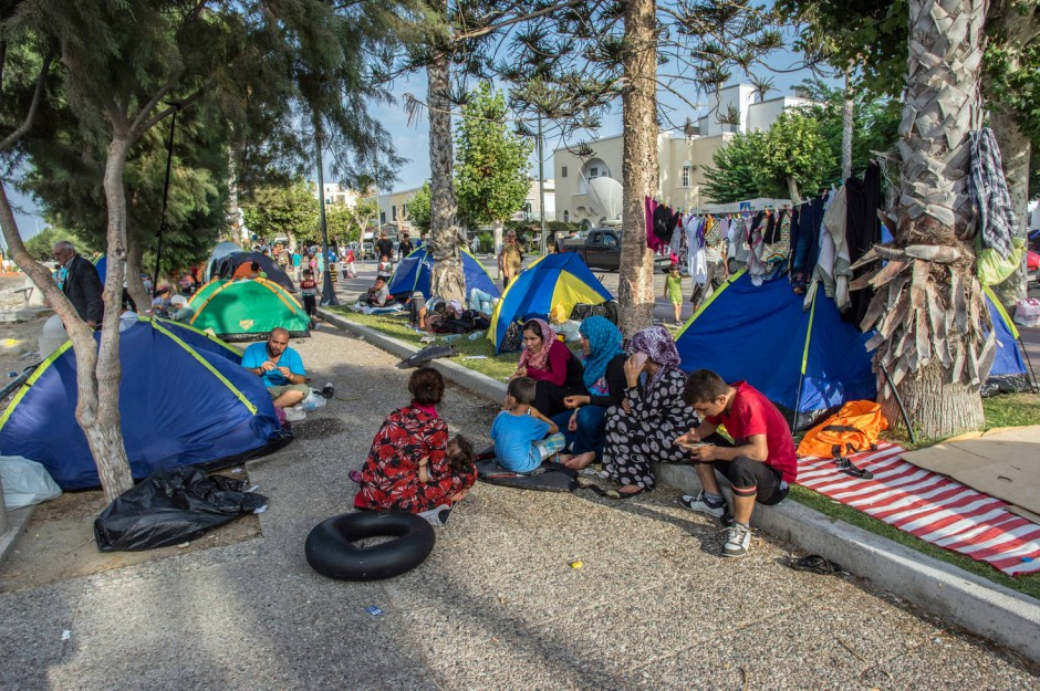 Notdürftige Unterkünfte für die Flüchtlinge  Kos