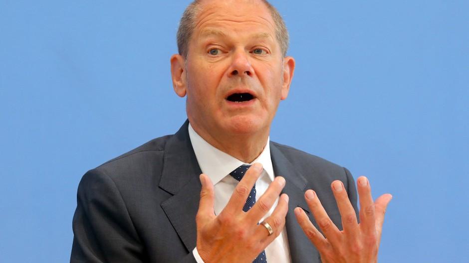 Bundesfinanzminister Olaf Scholz (SPD) am Mittwoch in der Bundespressekonferenz in Berlin