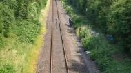 Spurensicherung: Ermittler untersuchen den Fundort der Leiche nahe Wiesbaden-Erbenheim.