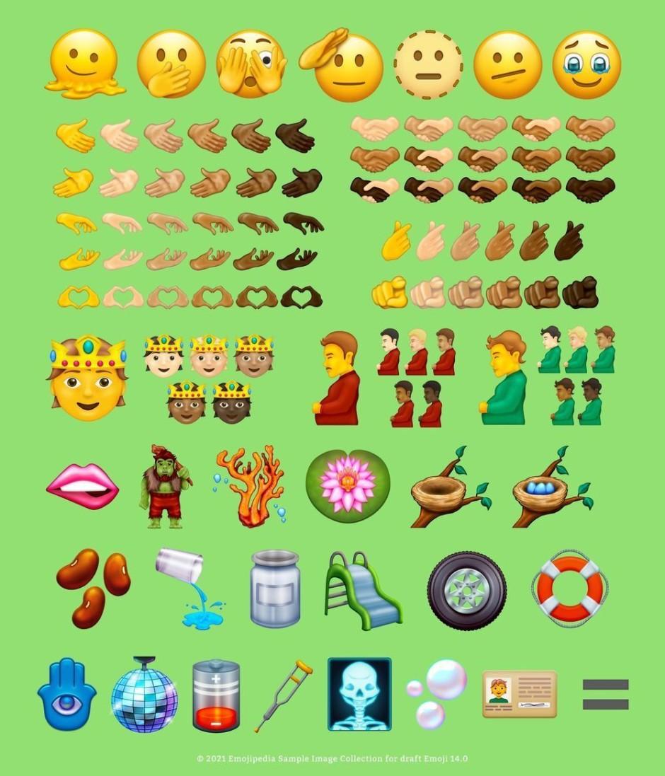 Beispielbilder des Blogs Emojipedia zeigen, wie die neuen Emojis aussehen könnten, wenn sie veröffentlicht werden.