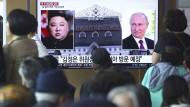 Das südkoreanische Fernsehen berichtet über das bevorstehende Gipfeltreffen von Kim Jon-un und Wladimir Putin.