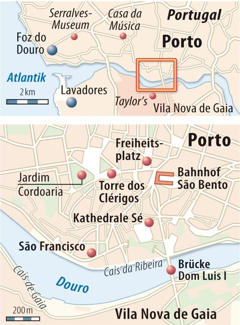 Orientierungspunkte für den São João in Porto
