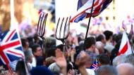 Mit Mistgabeln für den EU-Austritt: Die Stimmung auf Londons Straßen war teils aufgeheizt.
